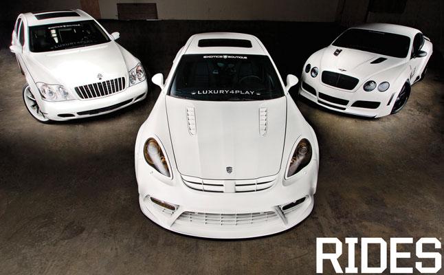 rides cars platinum luxury4play trio porsche panamera matte white bentley continental gt maybach 57