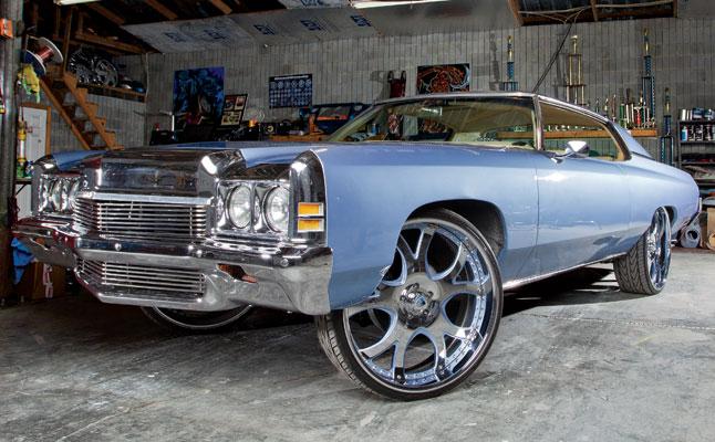 rides cars zach randolph blue donk chevy chevrolet 1972 impala