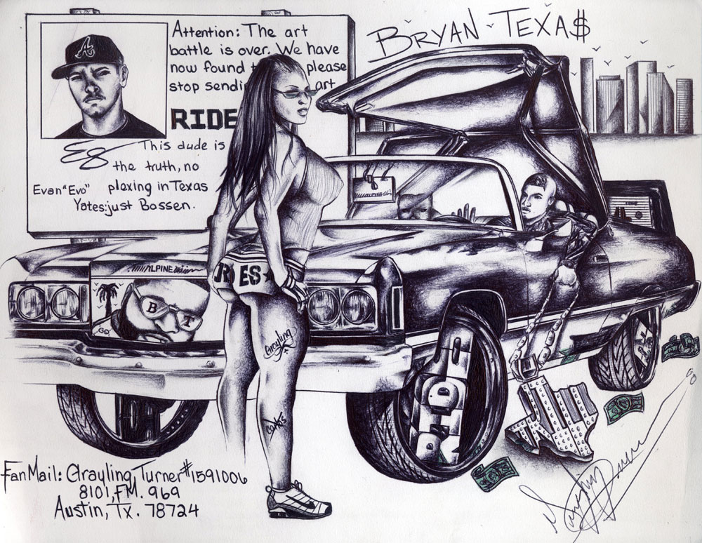 rides cars LETTERS_Grayling-Turner,-Austin-TX drawings art