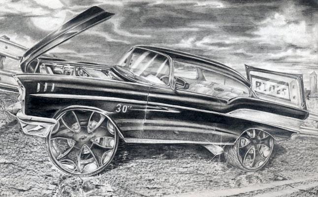 rides cars drawings art robert carr carabelle florida fl