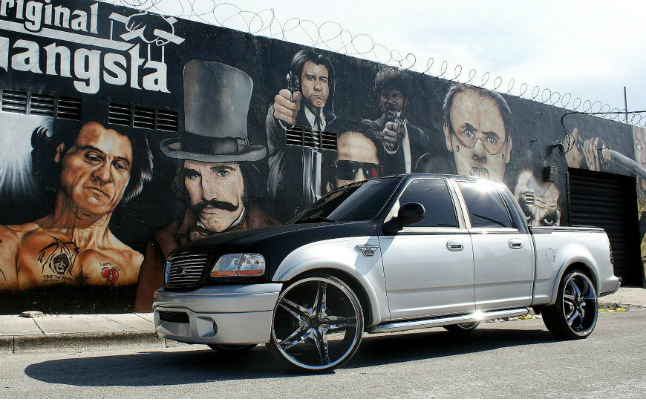rides 2003 ford f-150 harley davidson 100 year anniversary edition black silver 26's 4-door