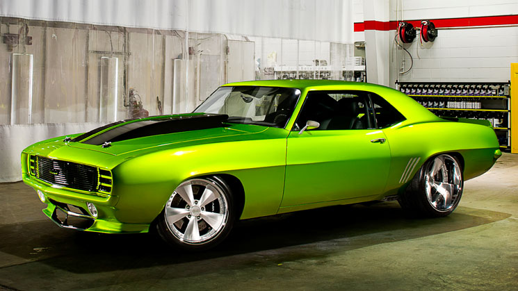 rides magazine ultimate audio chevrolet chevy camaro custom car old school green muscle pro touring
