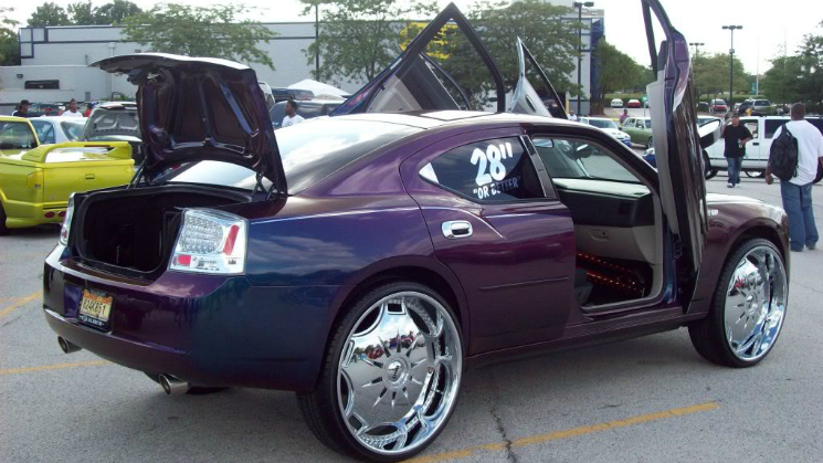 rides purple dodge charger donk 28-inch rims lambo doors nasty custom
