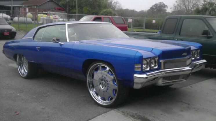 rides blue 1972 chevrolet impala donk chevy 72 kentrell hatcher kentrell's automotive grp auto body