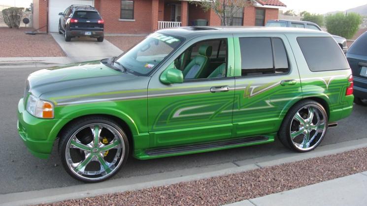 rides green 2003 ford explorer xplizit cc car club texas big v designs kandy lime 24 inch rims wheels custom