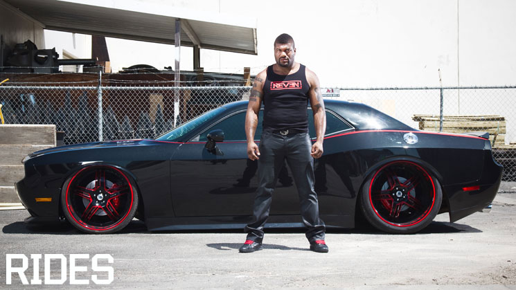 quinton rampage jackson dodge challenger srt8 murdered out vortech supercharger asanti wide body kit rims grille rides magazine