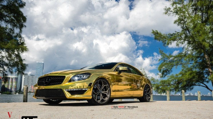 MC Customs | Gold Wrapped Mercedes-Benz CLS63 · Vellano Wheels